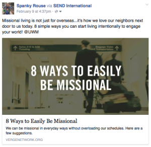 This is my fb post regarding missional living. you can read it by going to my Facebook page, https://www.facebook.com/spanky.rouse