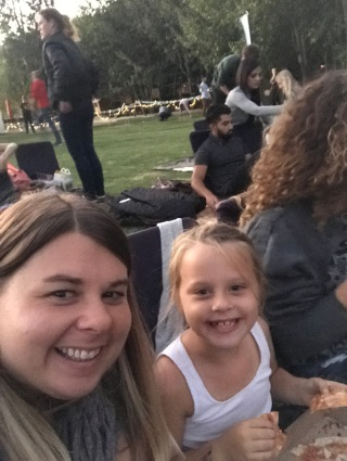 Twins at the outdoor movie